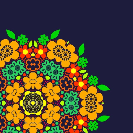 Cute colorful summer floral rosette background on dark blue, vector Stock Vector - 19676883