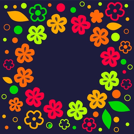 Cute colorful summer floral frame background on dark blue, vector Vector