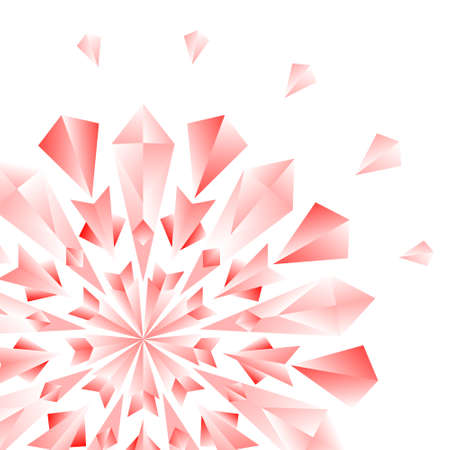 Red jewel flower or snowflake on white card background, vector Vector