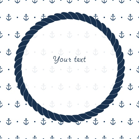 Blue and white navy circle frame with anchors card background, vector Ilustrace