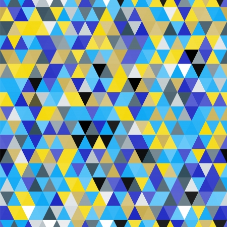 Abstract geometric colorful triangles in blue and yellow seamless pattern Vector
