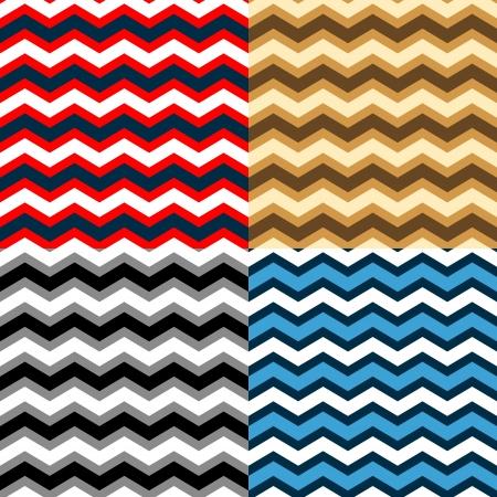 異なる色でシェブロン シームレス パターン コレクション  イラスト・ベクター素材