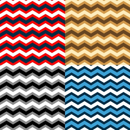 zag: Chevron seamless patterns collection in different colors Illustration