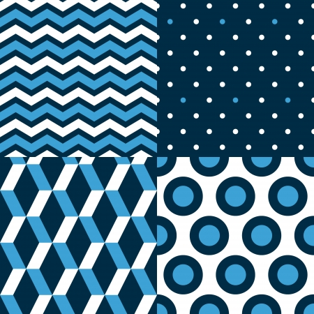 Marine seamless patterns collection in blue black and white - chevron, dots, stripes, circles