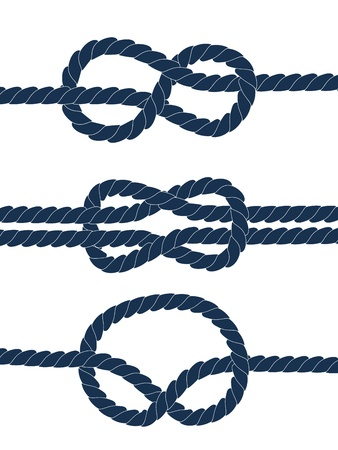 Nautical blue knots on white background Vector