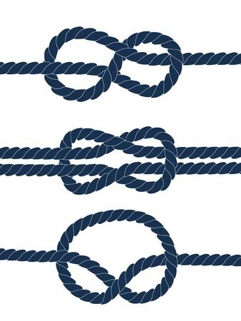 noue: Noeuds nautiques bleu sur fond blanc Illustration