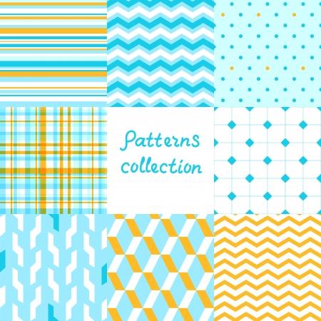 単純な幾何学的なシームレス パターン セットを青と黄色  イラスト・ベクター素材