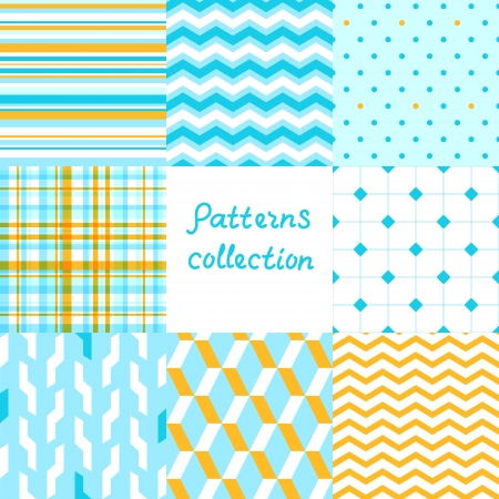 Simple geometric seamless patterns set in blue and yellow