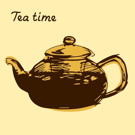 free time: Sketched freehand brown teapot on beige background