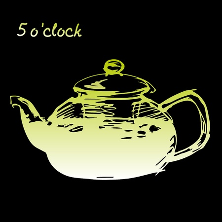 Sketched freehand green  teapot on black background Vector