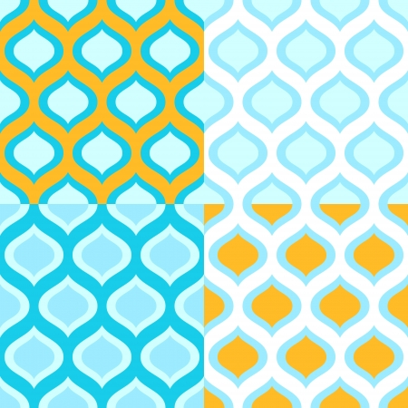 Abstract geometric colorful seamless patterns in blue and yellow set Vector
