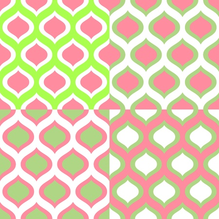Abstract geometric colorful seamless patterns in green and pink set Vector