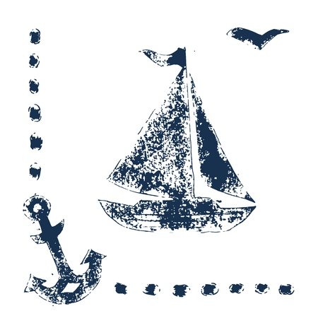 anchor background: Grunge blue stamp print sailboat, anchor and seagull on white background Illustration