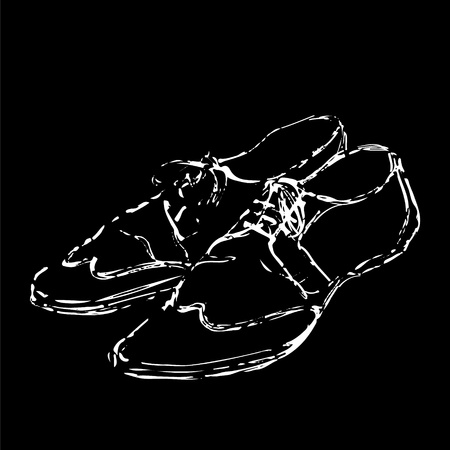 Mens fancy shoes hand drawn sketch white on black background Vector