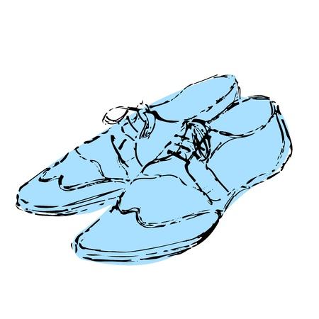 zapatos azules: Mens lujo zapatos azules mano boceto dibujado en el fondo blanco