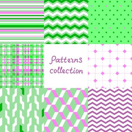 fondos violeta: Patrones transparentes geométricos simples establecen en violeta y verde