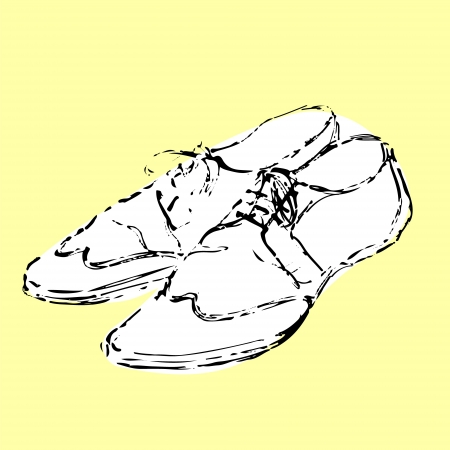 men's shoes: Mens fancy white shoes hand drawn sketch on yellow background, vector illustration Illustration