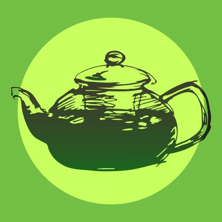 Sketched freehand green tea pot background, vector Vector