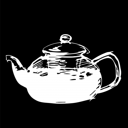 Sketched freehand white tea pot on black background Vector