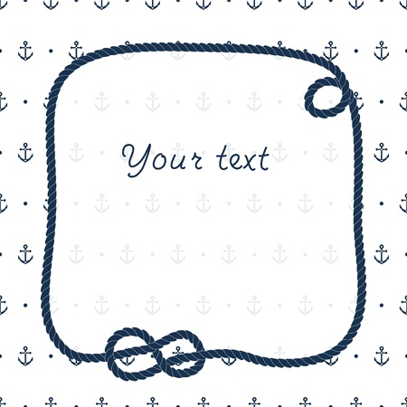 navy ship: Navy blue rope knots frame for your text on anchors white background, vector