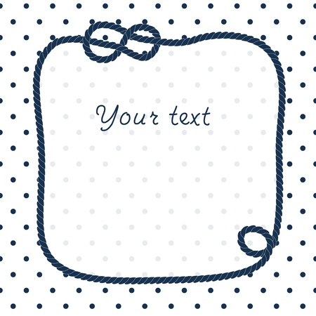 nautic: Navy blue rope knots frame for your text on dots white background, vector