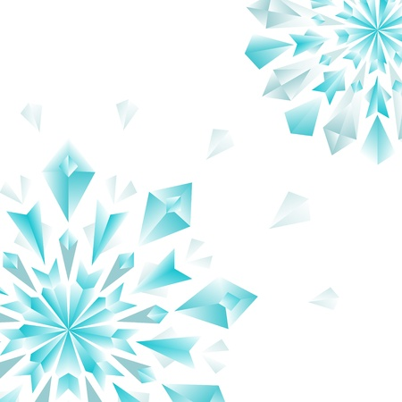 Floral colorful blue diamonds on white background, vector