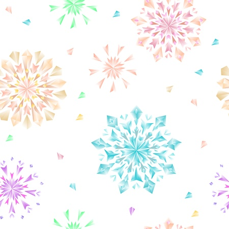 Floral colorful diamonds seamless pattern on white background, vector Vector