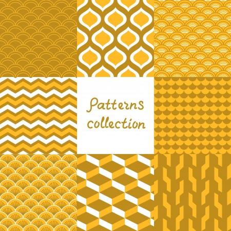 yellow  art: Abstract art d�co patrones transparentes geom�tricos establecidos en tonos de oro