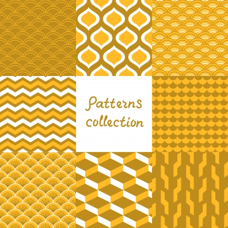 Abstract art deco geometric seamless patterns set in shades of gold Ilustracja