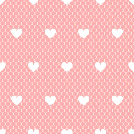 Elegant delicate pink lacy mesh with white hearts seamless pattern Vector