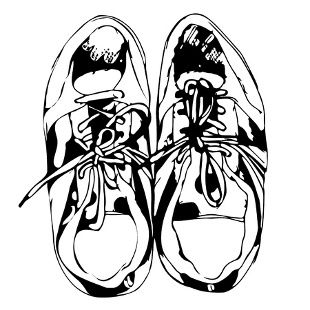 men's shoes: Sport shoes freehand sketch in black and white background,  illustration Illustration
