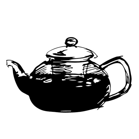 spout: Sketched teapot in black wnd white background,  illustration Illustration