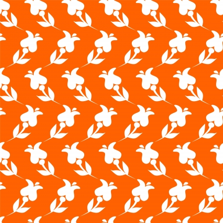 White simple flowers on orange seamless pattern Vector