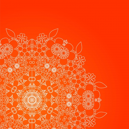 White floral rosette on red card background Vector