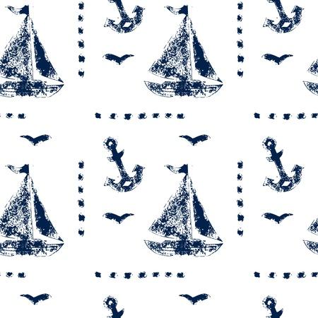 sea mark: Grunge boat and anshor navy blue on white seamless pattern