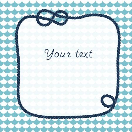 turquesa: Cuerda marina con nudos marinos marco de fondo para el texto en festoneado