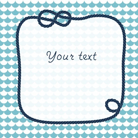 Navy rope with marine knots frame background for your text  on scalloped