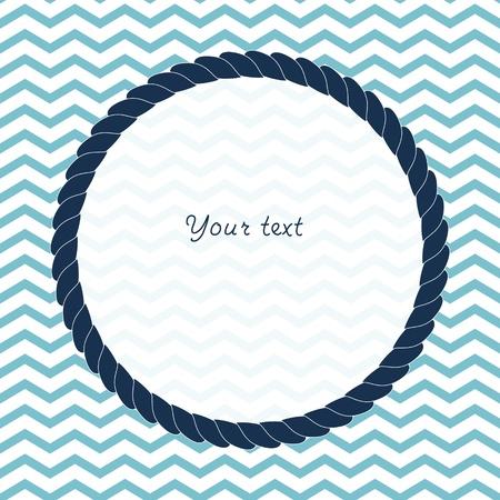 azul marino: Ronda azul marino cuerda fondo del marco para el texto en chevron