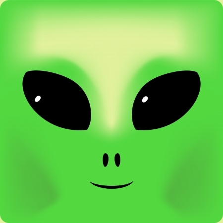 extraterrestrial: Cute green smiling alien face background,  illustration