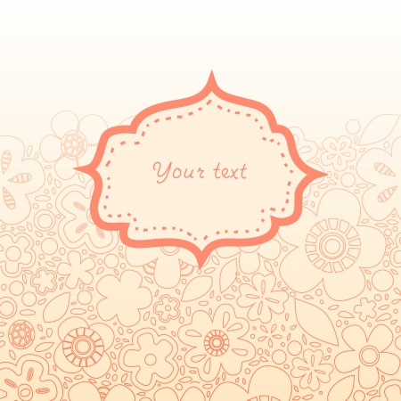 Pastel pink and white floral frame for your text card background Vector