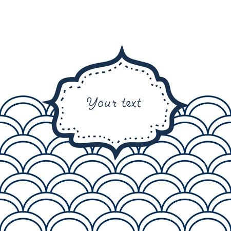 petoncle: Bleu marine et blanc pétoncle cadre modelé pour votre fond de carte de texte