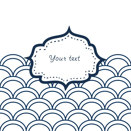 Navy blue and white scallop patterned frame for your text card background Vector