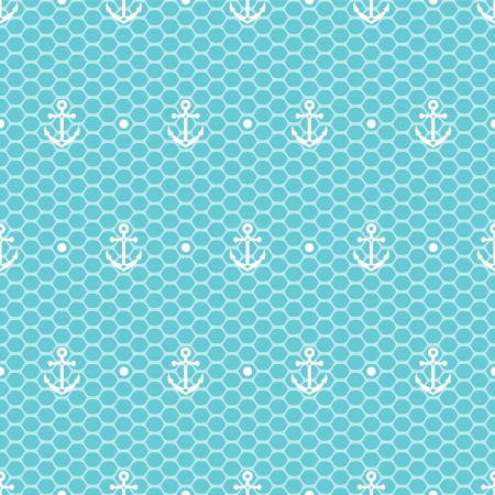 White anchors and dots on blue lacy mesh seamless pattern Vector