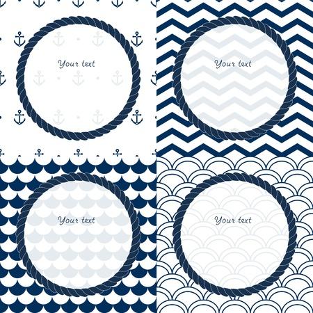 petoncle: Bleu marine et blanc course cadres ronds fixés sur chevron, festonné et ancrage motifs milieux