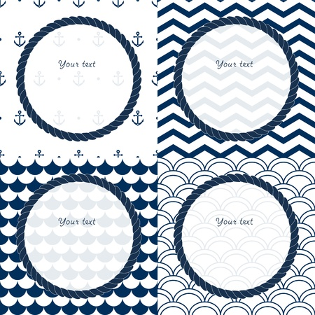 Navy blue and white travel round frames set on chevron, scalloped and anchor patterned backgrounds Illustration