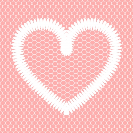 White crochet heart on pink lacy mesh card background Vector
