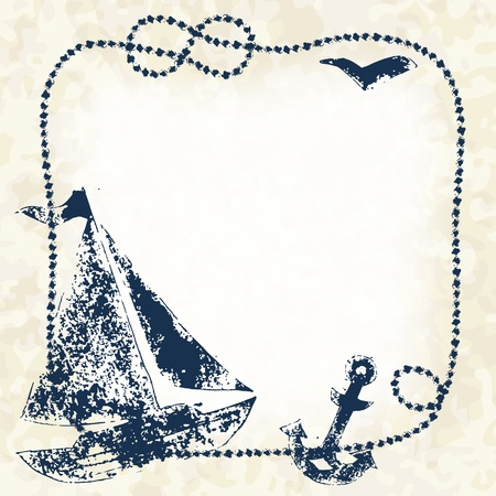 Navy blue prints of a boat, anchor and seagull with a marine rope frame on a grunge background Vector