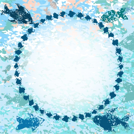 Blue fishes navy grunge background with a frame for your text or photo Vector