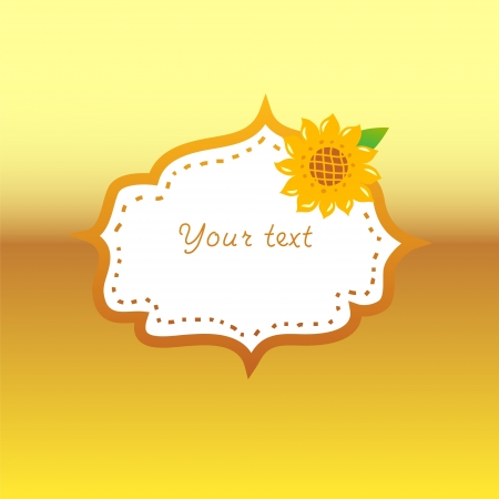 Sunflower oil label with a frame on golden background Illustration