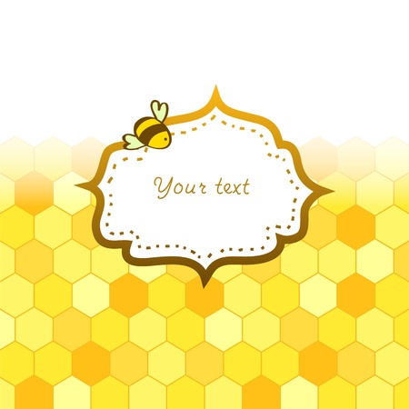 honey bees: Colorful golden honeycomb with a frame card background